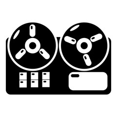 Reel tape recorder icon , simple style