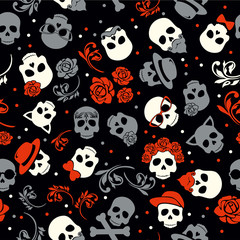 Day of the dead, colorful stylish skull with ornament and floral pattern. Seamless pattern.