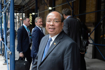 Myanmar's national security advisor Thaung Tun departs from a meeting to discuss the Rohingya situation during the United Nations General Assembly in New York City
