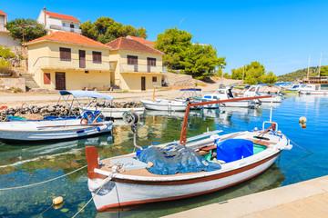 Fishing boats anchoring in small port of Razanj, Dalmatia, Croatia