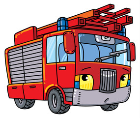 Fire truck or firemachine with eyes