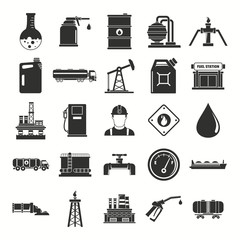 Oil gas industry black silhouette icons set with offshore platform drilling