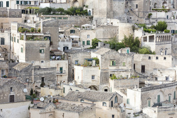 View of the old town of Matera also known as the Subterranean City Basilicata Italy Europe