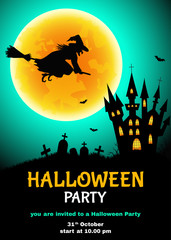 Halloween  party flyer with  witch  silhouette,  cemetery, castle  and moon.