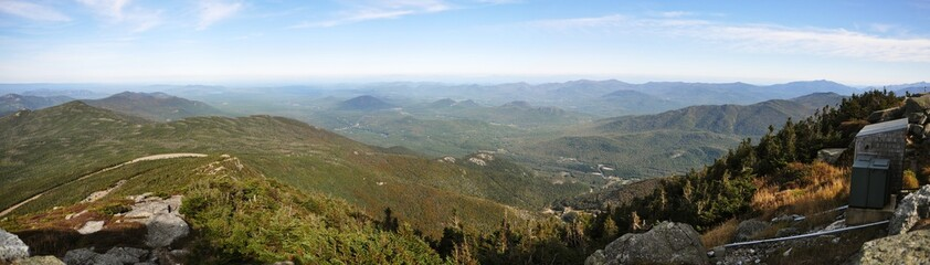 Adirondack Mountains panorama (East) view from top of Whiteface Mountain in fall, New York State, USA.
