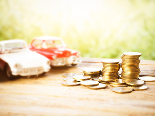 saving for car, stack of money, rows of coins for finance and banking concept, money growing concept