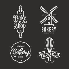Bakery emblems set. Vector vintage illustration.