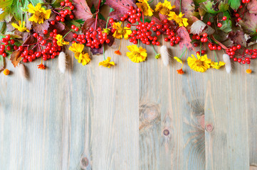 Autumn background with autumn Viburnum berries and flowers on the wooden background