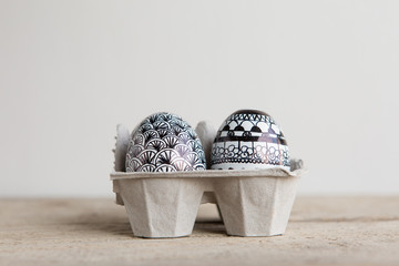 Easter eggs with handmade decoration