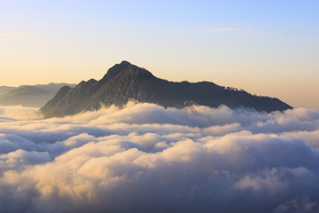 Fog at dawn seen from Monte San Martino Province of Lecco Lombardy Italy Europe