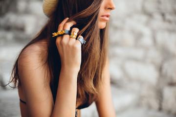 Fashion Model Wearing Rings