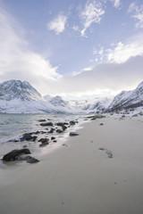 nordic fjord in winter