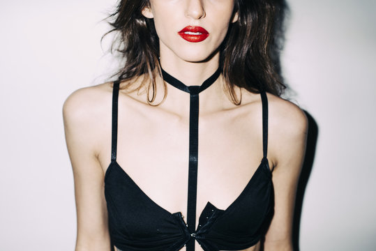 Edgy Lingerie Model in Direct Flash with Lipstick