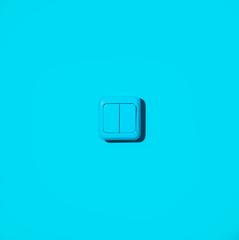 Blue light switch on blue background.