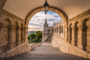 Budapest, Hungary - North gate of the famous Fisherman Bastion on a summer morning