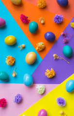 Colorful Easter eggs on colorful background.
