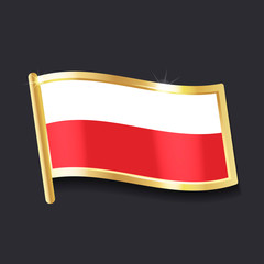 flag of  Poland in the form of badge, flat image
