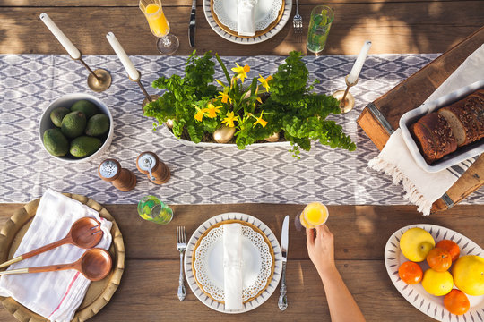 Top view of outdoor table setting.