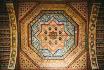 Pattern decorated ceiling in Bahia Palace. Marrakech, Morocco