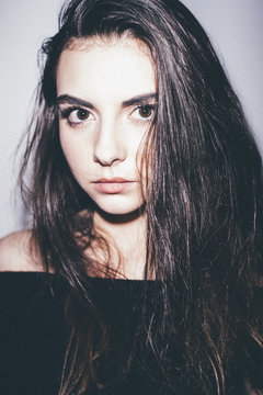 Teen fashion model modern studio photoshoot