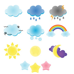 Weather and sky icons. Moon, sun, rain clouds vector illustration