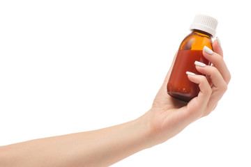 Female hands syrup from a cough throat