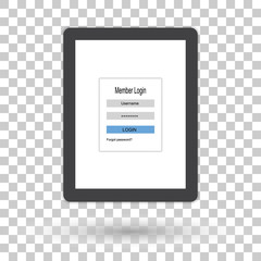 Tablet computer with user login form page and sign in button. Mobile application flat design concept.