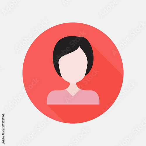 Girl flat icon   Business woman user avatar  Vector illustration