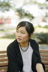 Portrait of Asian woman outdoor