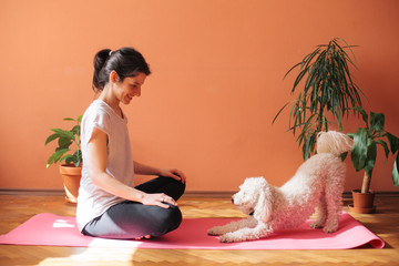 Woman doing yoga indoor