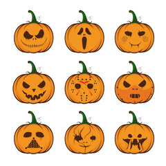 Set pumpkins for Halloween. Funny halloween pumpkin jack o lantern face vector illustration.