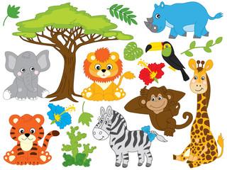 Vector Cartoon Safari Animals. Vector Jungle Animals