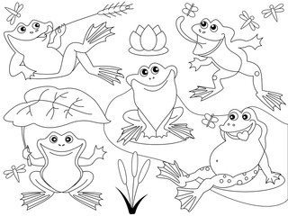 Vector Cute Cartoon Frogs