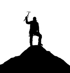 silhouette of one climber with ice axe in hand