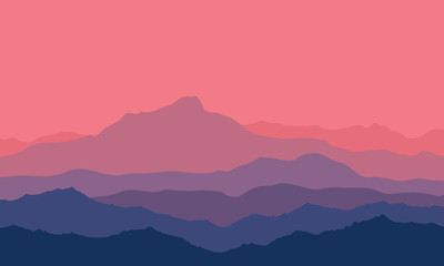 Landscape with blue and purple silhouettes of mountains and hills with beautiful bloody evening sky. Huge mountain range silhouettes in twilight. Vector illustration.