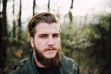 Portrait of stylish bearded man