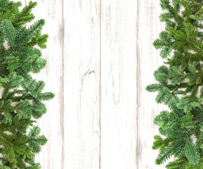 Christmas tree branches decoration wooden background
