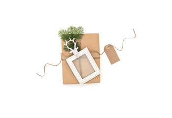 Christmas flat lay gift picture frame