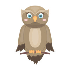 Owl, single icon in cartoon style.Owl, vector symbol stock illustration web.