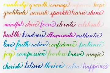 Positive handwritten words
