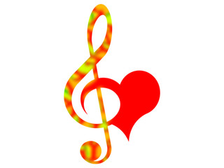 Combined symbols of the treble clef and heart