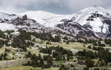 Pristine snowy landscape in Absorka Mountain Range, Wyoming wilderness