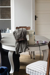 sewing machine set up on a table