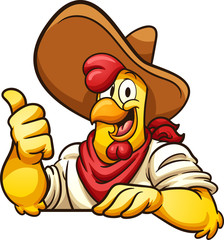 Cartoon farmer chicken with thumb up. Vector clip art illustration with simple gradients. All in a single layer.