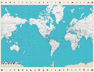 Fototapete - World Map Americas Centered Map Vintage color and map markers