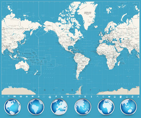 Fototapete - Americas Centered World Map and Glossy Globes