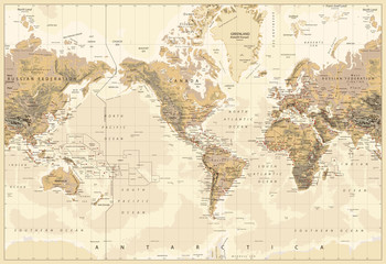 Wall Mural - Vintage Physical World Map-America Centered-Colors of Brown