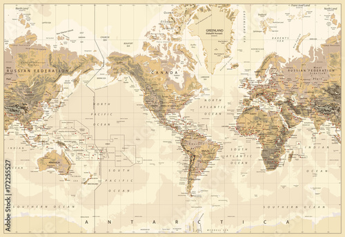 Vintage physical world map america centered colors of brown stock vintage physical world map america centered colors of brown gumiabroncs Image collections