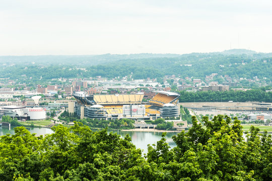 View of Heinz field in with Allegheny river in Pittsburgh, USA