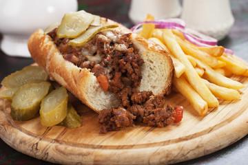 Sloppy Joes ground beef sandwich